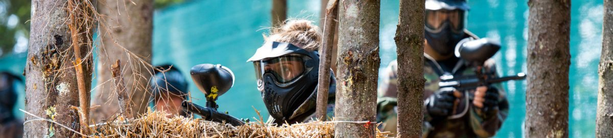 Paintball Player in the Woods